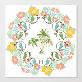 Cool Tropical Toucan Floral Canvas Print