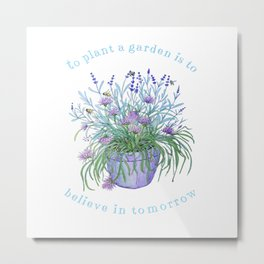 Lavender, honey bees and chives watercolor Metal Print