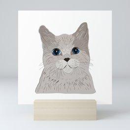 Grey cat Blue eyes Mini Art Print