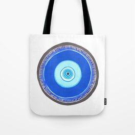 Blue and Silver Evil Eye Mandala Tote Bag