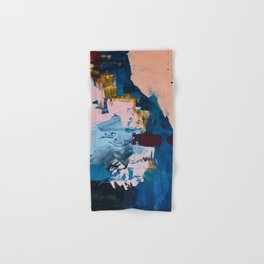 A Drop in the Ocean: an abstract piece by Alyssa Hamilton Art in blue, maroon, and peach Hand & Bath Towel