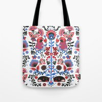 folk Tote Bags featuring The Pug of Folk  by Huebucket