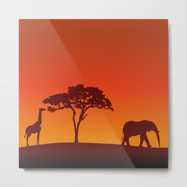 African Safari Silhouette Metal Print