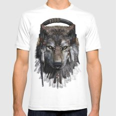 Wolf Pattern MEDIUM White Mens Fitted Tee