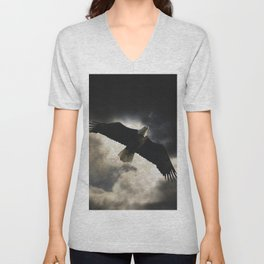 Soaring Eagle in Stormy Skies Unisex V-Neck