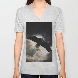 Soaring Eagle in Stormy Skies Unisex V-Neck