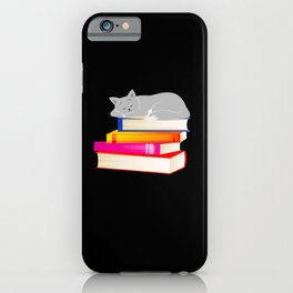 Cat sleeping on Books Reading Cat Lover iPhone Case