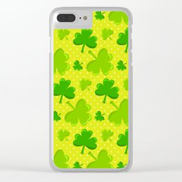 St. Patrick's Day Lucky Green Shamrocks Pattern Clear iPhone Case