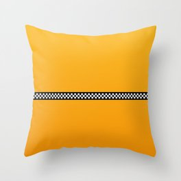 NY Taxi Cab Yellow with Black and White Check Band Throw Pillow