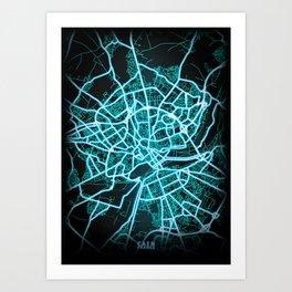 Caen, France, Blue, White, Neon, Glow, City, Map Art Print