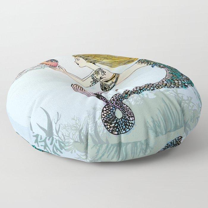 Jellyfish and Mermaid Floor Pillow