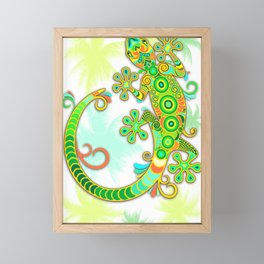 Gecko Lizard Colorful Tattoo Style Framed Mini Art Print