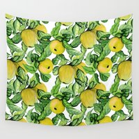 vegetarian Wall Tapestries featuring Yellow apples by Julia Badeeva