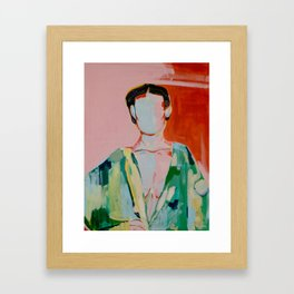 Woman red and green Framed Art Print