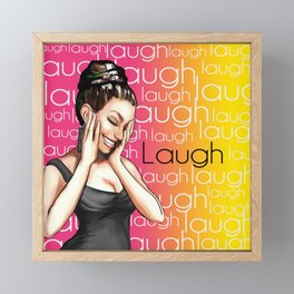 Retro Pinup Girl Laugh Typography Framed Mini Art Print