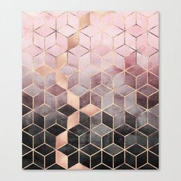 Pink And Grey Gradient Cubes Canvas Print