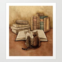 Kittens Reading A Book Art Print