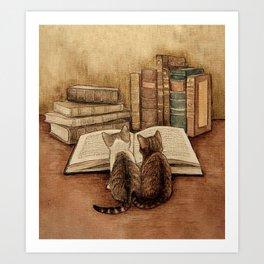 Kittens Reading A Book Art Print