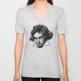 Ludwig Van Beethoven line drawing Unisex V-Neck