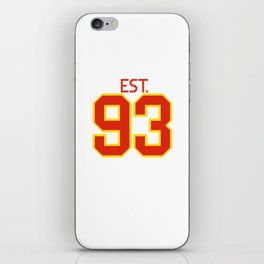 Est. 93 in red and gold iPhone Skin