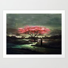 Tardis Blossom Art Painting Art Print