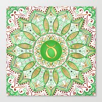 Zodiac Sign Taurus Mandala Canvas Print
