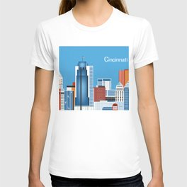 Cincinnati, Ohio - Skyline Illustration by Loose Petals T-shirt