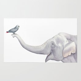 Elephant and Bird Watercolor Rug