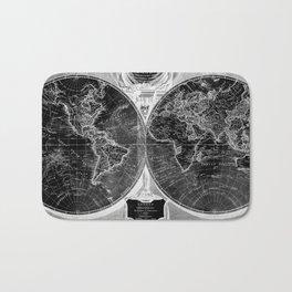 Black and White World Map (1808) Inverse Bath Mat