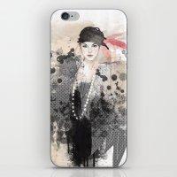 fashion illustration iPhone & iPod Skins featuring FASHION ILLUSTRATION 12 by Justyna Kucharska