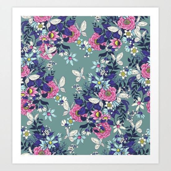 Thea's Garden - in teal tones Art Print