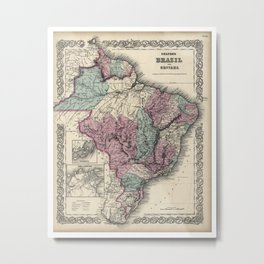 Colton's Brazil with Guayana - 1871 Metal Print