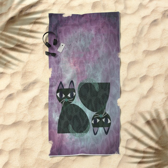 Two Cats Beach Towel