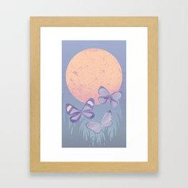 Moonrise Meadow Butterflies Framed Art Print