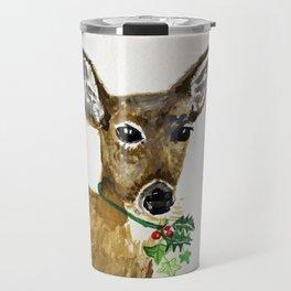 the holly and the ivy christmas deer Travel Mug