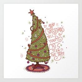 Cat Christmas Graphic Art Print