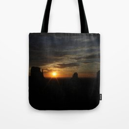 Sunrise over Monument Valley East & West Mitten Buttes Tote Bag