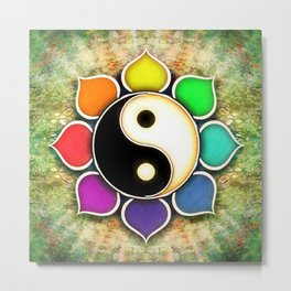 Yin Yang - Flower Rainbow Colors Metal Print