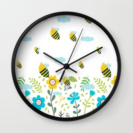 Bee Flaying Wall Clock