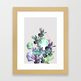 Neon Flowers - Icy Grey Framed Art Print