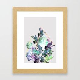 Neon Flowers - Icy Grey Framed Art Print
