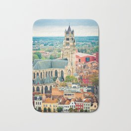 Bruges cityscape, Belgium Bath Mat