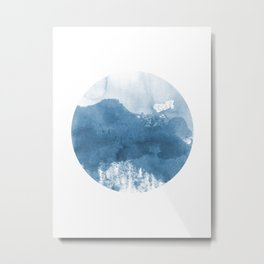 Dusky Blue Circle Geometric Abstract Watercolor Metal Print
