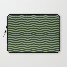 Dark Forest Green Chevron Zigzag Stripes Laptop Sleeve