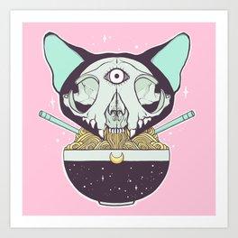 Cat Skull Ramen Noodles Anime Artwork Kunstdrucke