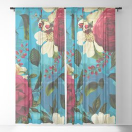 Mystical Blue Rose Garden Sheer Curtain