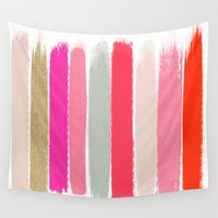 minnie Wall Tapestries featuring Minnie - Abstract Brushstroke pattern print in modern colors gold pink by CharlotteWinter