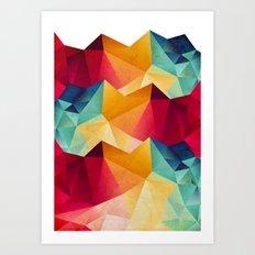 geometric color mountains Art Print