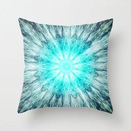 Teal Blue Mandala Throw Pillow