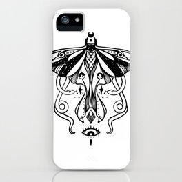 Luna Moth, Snakes, Third Eye, Witchy Illustration iPhone Case